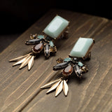 LEAF LIGHT BLUE MOONSTONE EARRINGS - SWANL