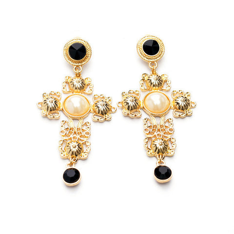 STONE CROSS AND CLASS 18K GOLD PLATED EARRINGS - SWANL