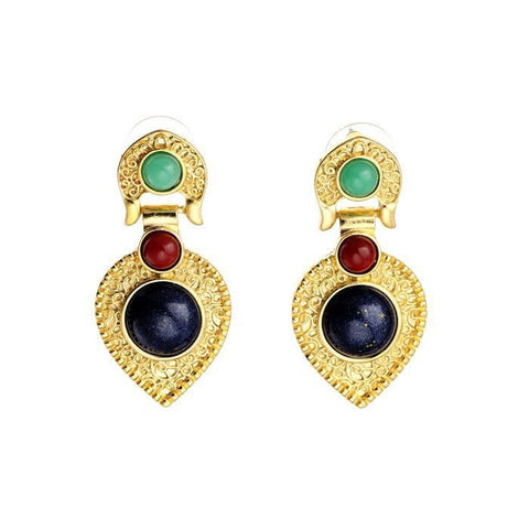 LUXURY NAVI DROPS 18K GOLD PLATED STUD EARRINGS - SWANL