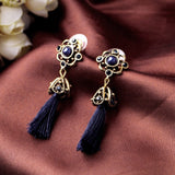 ELLIS ROYAL ANTIQUE ROPE TASSEL DANGLE DROP EARRINGS - SWANL