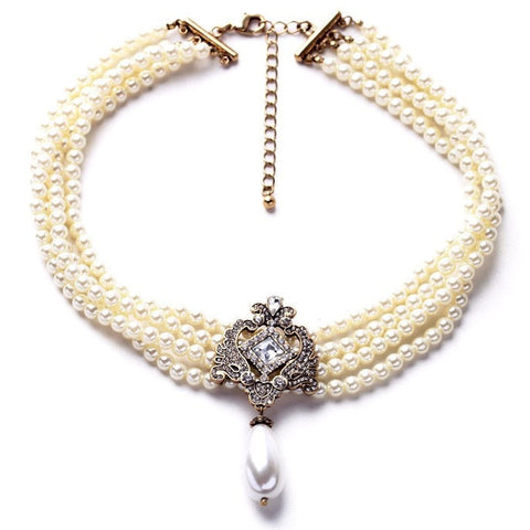 MULTILAYER BEADS SIMULATED PEARL NECKLACE - SWANL
