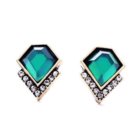 CRISTIE EMERALD GEOMETRIC STUD EARRINGS - SWANL