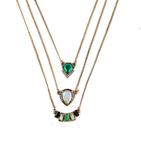 GEOMETRIC EMERALD PERSONALITY  THREE LAYER PENDANT NECKLACE - SWANL