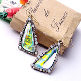 BLISS MULTICOLOR GEOMETRIC TRIANGLE EARRINGS - SWANL