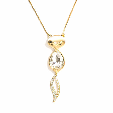 CATMOUTH LONG DROP STATEMENT PENDANT NECKLACE - SWANL