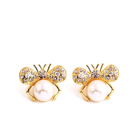 Butterfly Pearl Stud Earrings | SWANL
