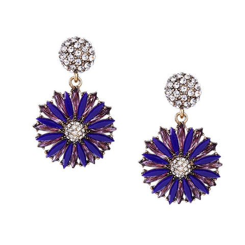 Bijoux Blue Color Flower Stud Earrings | SWANL