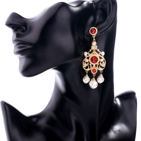 Golden Red Chandlier Dangling Earring | SWANL