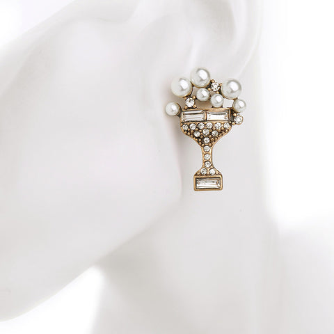 Castle Pearls Crystal Stud Earrings | SWANL