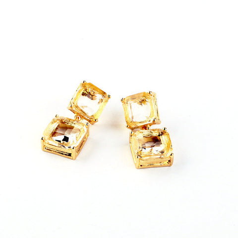 SQUARE ANDROID GLASS STUD EARRINGS - SWANL