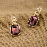 AMETHYST GOLDEN LINING DROP EARRINGS | SWANL