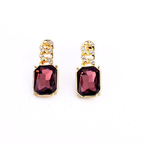 AMETHYST GOLDEN LINING DROP EARRINGS - SWANL