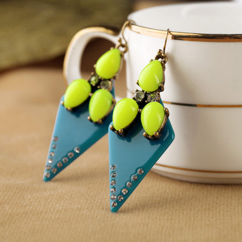 Bright Color Resin Triangle Stud Earrings
