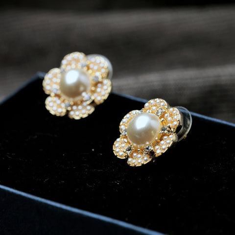 Coturo Golden Pearl Flower Stud Earrings | SWANL