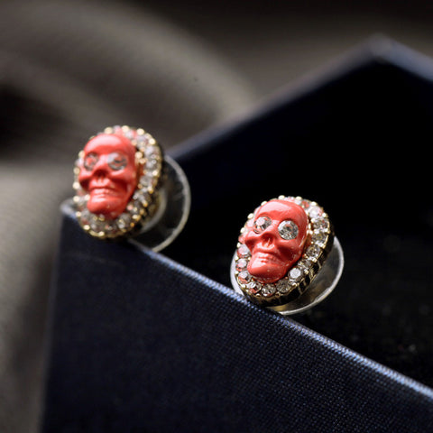 Shiny Resin Stone Skull Stud Earrings