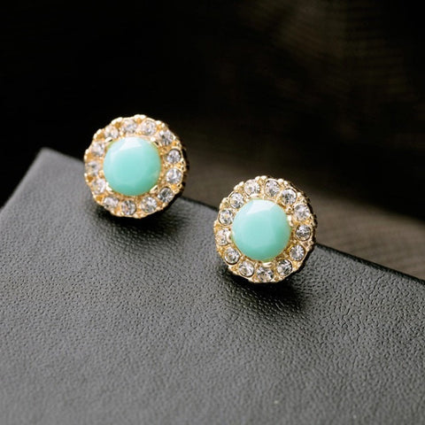 CHELSIE GREEN STUD EARRINGS | SWANL