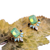 UNUSUAL EMERALD AND OPAL STUD EARRINGS - SWANL