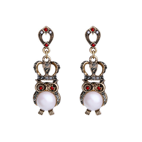 Ultra Cute Owler with Pearls Drop Earrings | SWANL