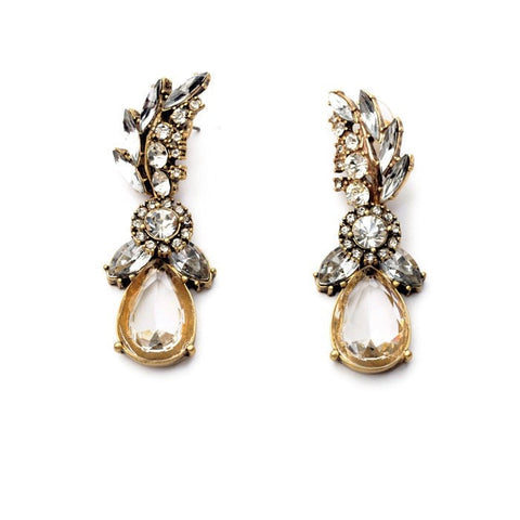 PINNACLE CRYSTAL SLEEVE STATEMENT EARRINGS | SWANL