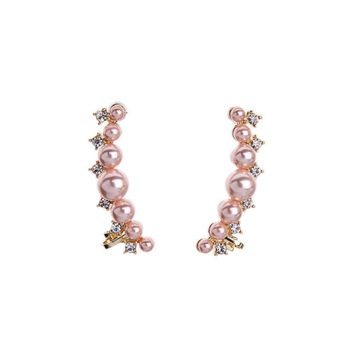 Pearl Crawler Stud Earrings | SWANL