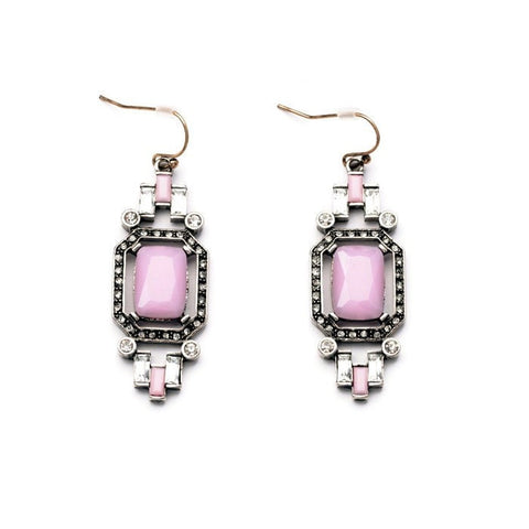 HEXAGON PINK STATEMENT EARRINGS - SWANL