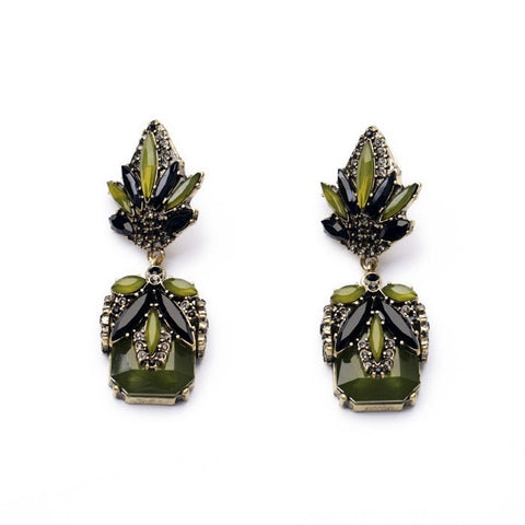 OLIVE ANTIQUE GOLD PLATED DROP EARRINGS - SWANL