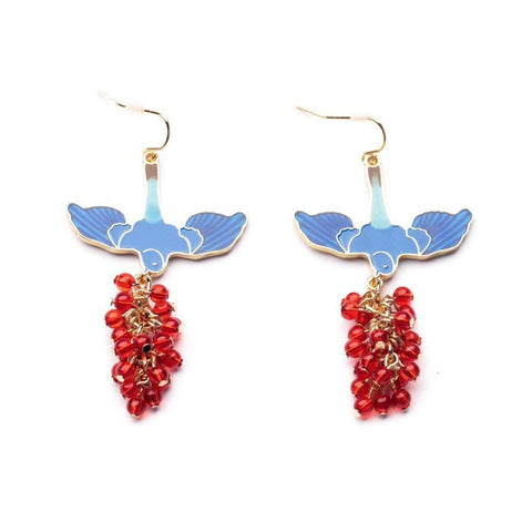 BEADED BIRD ENAMEL DROP EARRINGS - SWANL