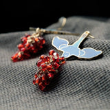 BEADED BIRD ENAMEL DROP EARRINGS | SWANL