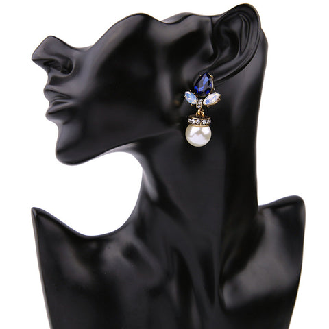 Royal Blue Crystal and Exotic Pearl Drop Earrings | SWANL