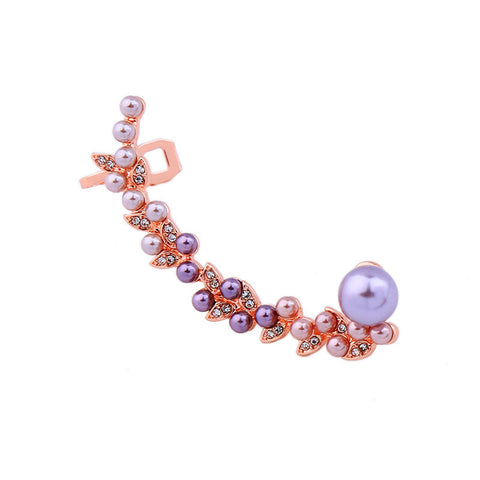 Rose Gold Color Simulated Pearls Clip Earrings | SWANL
