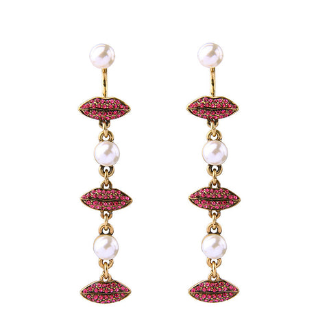 Seductive Red Lips with Rhinestone Pearls Drop Earrings | SWANL