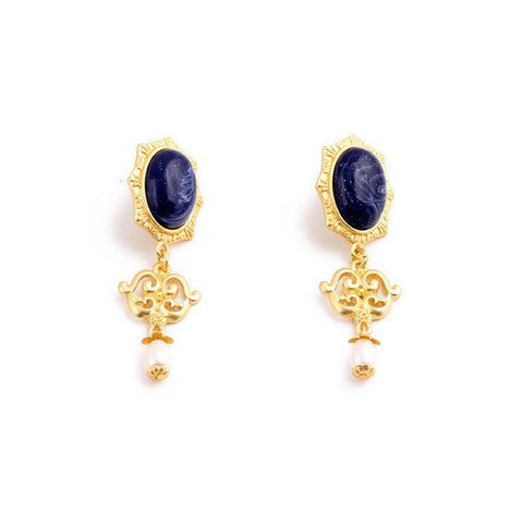 LAPIS ROYAL PEARL STATEMENT EARRINGS - SWANL