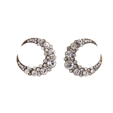Crystal Moon Studs Earrings