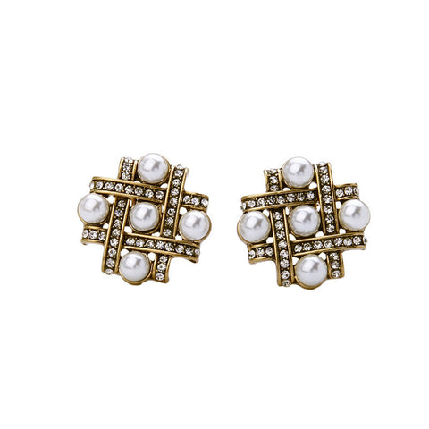 Criss Cross Pearl Stud Earrings | SWANL