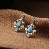 TURQUOISE 18 K GOLD PELLET EARRINGS - SWANL
