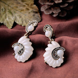 WHITE SHELL STATEMENT EARRINGS | SWANL