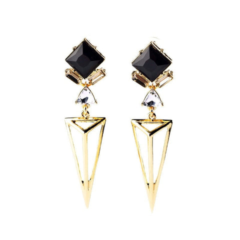 BLACK SKEW GOLDEN DROP EARRINGS | SWANL