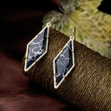BLACK VOGUE DIAMOND MARBLE EARRINGS - SWANL