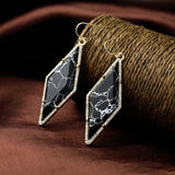 BLACK MARBLE VOGUE DIAMOND EARRINGS - SWANL