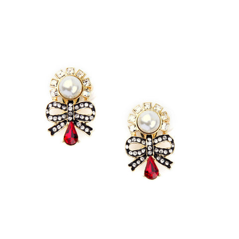 Bowknot Shaped Red Crystal with Pearls Clip Earrings | SWANL