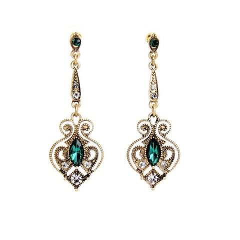 EMERALD HEART STATEMENT EARRINGS - SWANL
