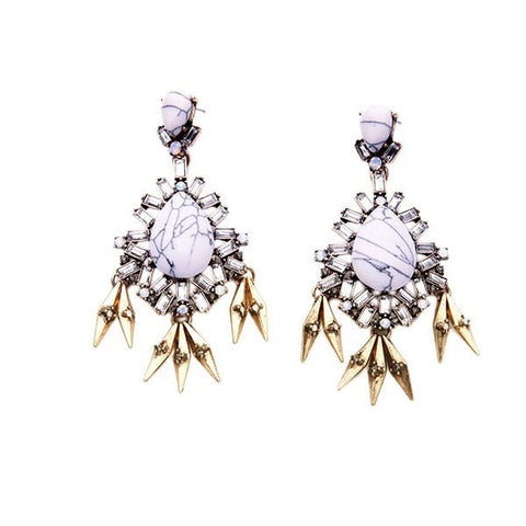 MARBLE QUEEN SPIRE STATEMENT EARRINGS | SWANL