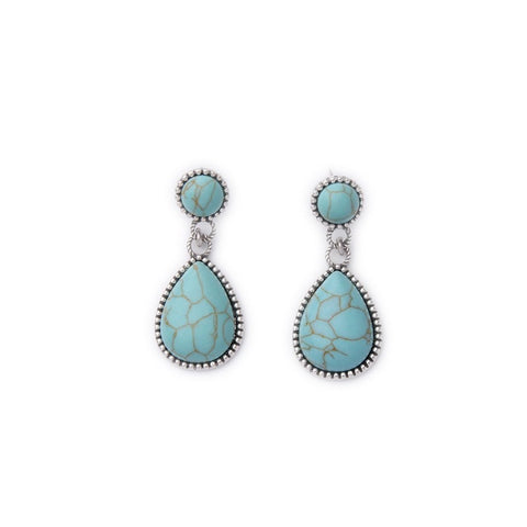 EARTH TURQUOISE LIQUID STATEMENT DROP EARRINGS - SWANL