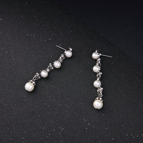 Lagger Silver Simulated Pearl Drop Earrings | SWANL