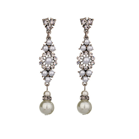 Silver Heart Beat Pearl Drop Earrings | SWANL