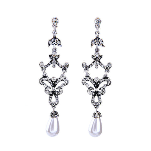 Royal Antique Silver Pearl Drop Earring | SWANL