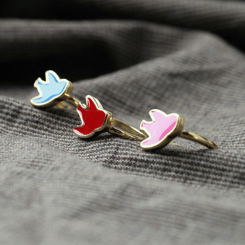 Chirpy Birdy Pink-Gold Color Rings