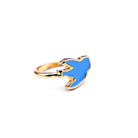 Chirpy Birdy Blue-Gold Color Rings