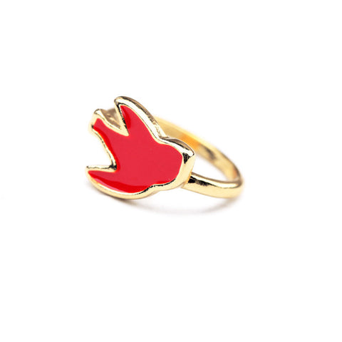 Chirpy Birdy Red-Gold Color Rings