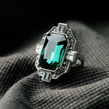 DAUNTESS EMERALD SQUARE STATEMENT RING - SWANL